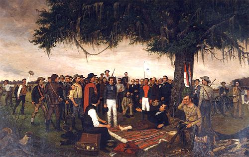 General Sam Houston accepting the surrender of Mexican Dictator Generalismo Santa Anna immediately following the Battle of San Jacinto